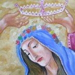 11 - Vierge couronnée  - huile sur papier collé sur bois - 55x74 Est. 200€