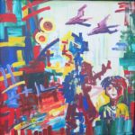 26 - Le silence de l'enfance - acrylique sur toile - 72x72 Est.1 000€