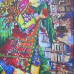 28 - Le rêve du retour ou la femme de Qaraqosh - acrylique sur toile - 104x154 Est.2 500€