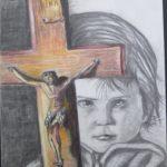 29 - Enfant au crucifix -  Crayon sur papier - 42x58 Est. 200€
