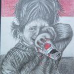 30 - Enfant pleurant - Crayon sur papier - 43x55 Est. 200 $