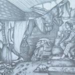 VENDU 31 - Femme assise - crayon sur papier - 43x55 Est. 200 $